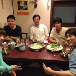 沖野先生と水炊きを囲んでミーティング (2015.9.8, 博多)